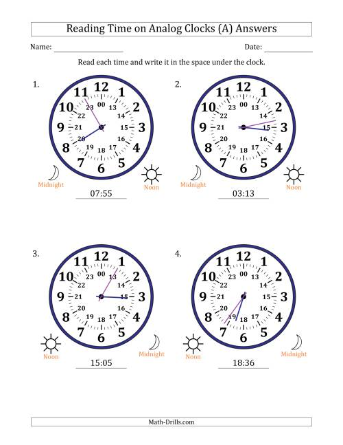 The Reading Time on 24 Hour Analog Clocks in 1 Minute Intervals (Large Clocks) (A) Math Worksheet Page 2