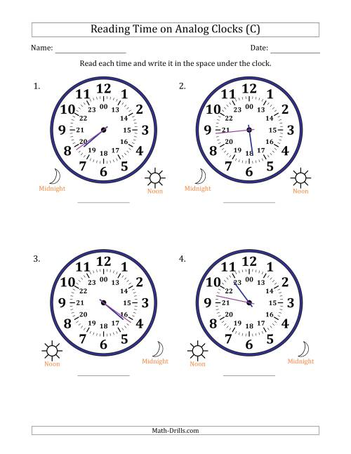 The Reading Time on 24 Hour Analog Clocks in 1 Minute Intervals (Large Clocks) (C) Math Worksheet