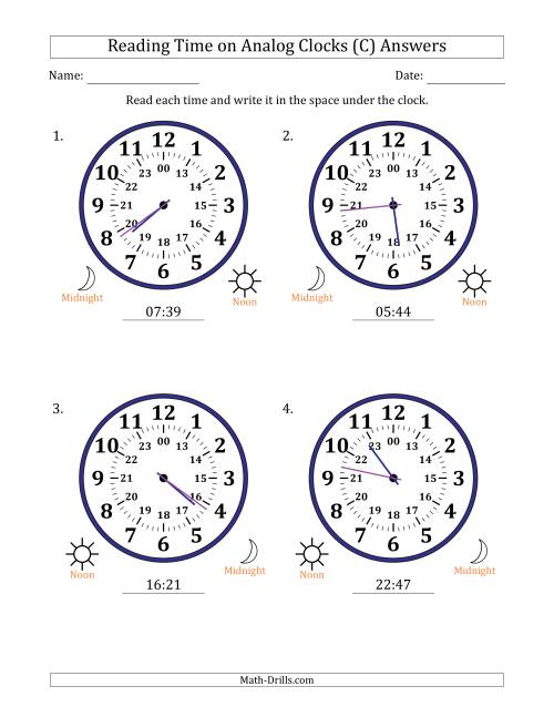 The Reading Time on 24 Hour Analog Clocks in 1 Minute Intervals (Large Clocks) (C) Math Worksheet Page 2