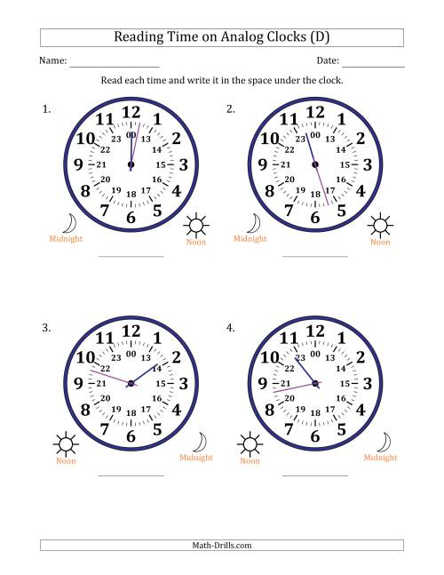 The Reading Time on 24 Hour Analog Clocks in 1 Minute Intervals (Large Clocks) (D) Math Worksheet
