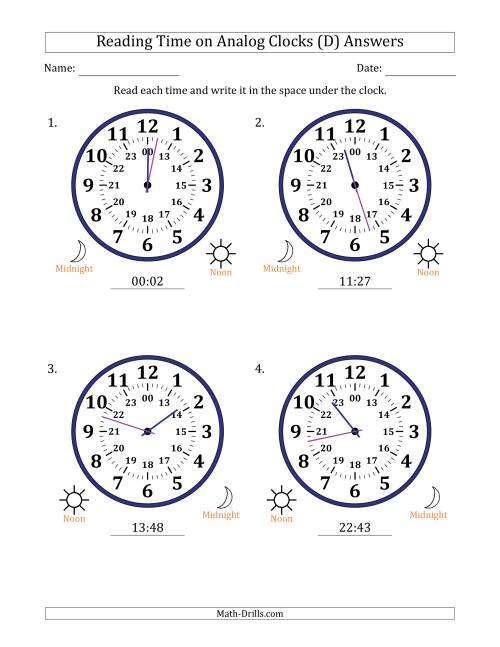 The Reading Time on 24 Hour Analog Clocks in 1 Minute Intervals (Large Clocks) (D) Math Worksheet Page 2