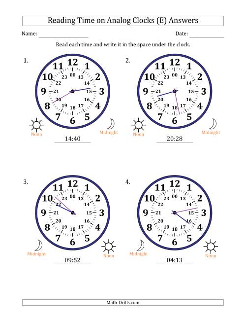 The Reading Time on 24 Hour Analog Clocks in 1 Minute Intervals (Large Clocks) (E) Math Worksheet Page 2