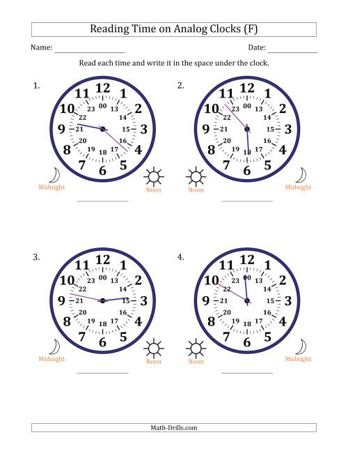 The Reading Time on 24 Hour Analog Clocks in 1 Minute Intervals (Large Clocks) (F) Math Worksheet