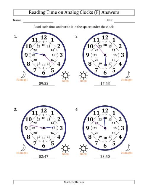 The Reading Time on 24 Hour Analog Clocks in 1 Minute Intervals (Large Clocks) (F) Math Worksheet Page 2