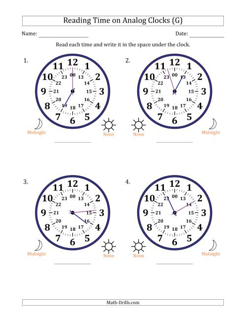 The Reading Time on 24 Hour Analog Clocks in 1 Minute Intervals (Large Clocks) (G) Math Worksheet