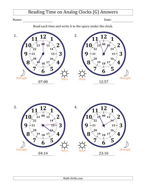 The Reading Time on 24 Hour Analog Clocks in 1 Minute Intervals (Large Clocks) (G) Math Worksheet Page 2