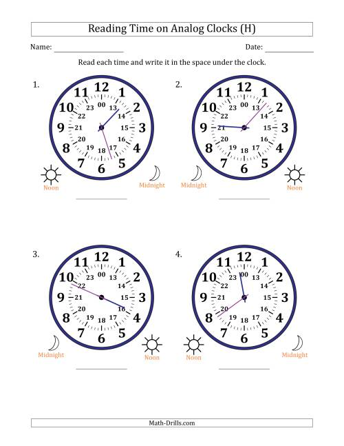 The Reading Time on 24 Hour Analog Clocks in 1 Minute Intervals (Large Clocks) (H) Math Worksheet