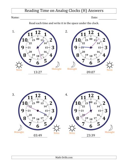 The Reading Time on 24 Hour Analog Clocks in 1 Minute Intervals (Large Clocks) (H) Math Worksheet Page 2