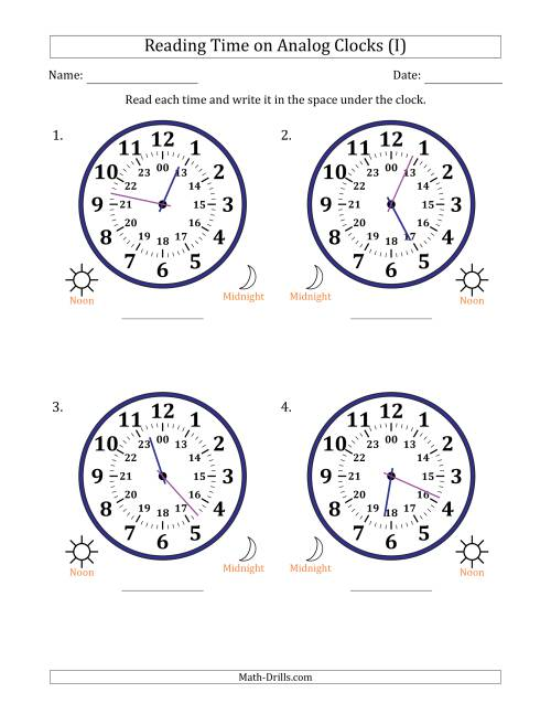 The Reading Time on 24 Hour Analog Clocks in 1 Minute Intervals (Large Clocks) (I) Math Worksheet