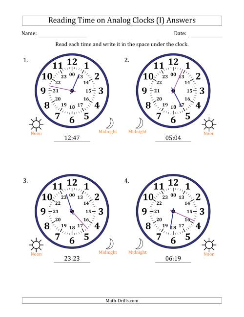 The Reading Time on 24 Hour Analog Clocks in 1 Minute Intervals (Large Clocks) (I) Math Worksheet Page 2