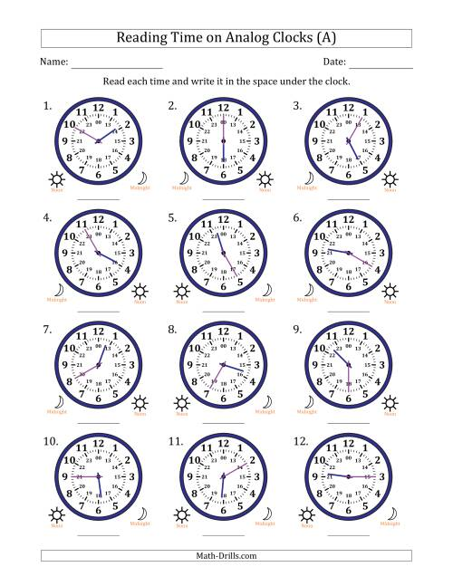 The Reading 24 Hour Time on Analog Clocks in 5 Minute Intervals (12 Clocks) (A) Math Worksheet