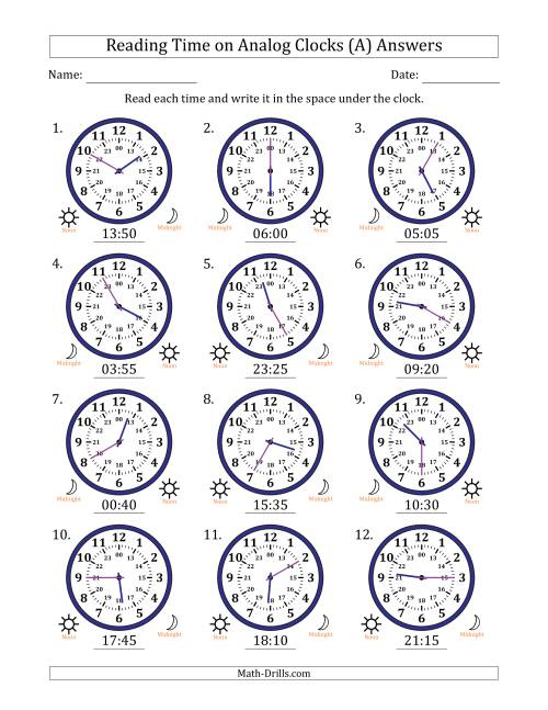 The Reading Time on 24 Hour Analog Clocks in 5 Minute Intervals (A) Math Worksheet Page 2