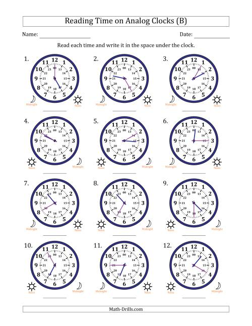 The Reading Time on 24 Hour Analog Clocks in 5 Minute Intervals (B) Math Worksheet