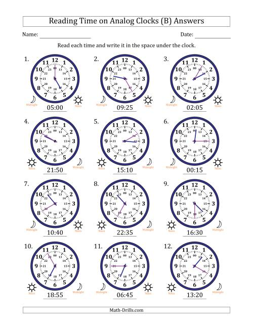 The Reading Time on 24 Hour Analog Clocks in 5 Minute Intervals (B) Math Worksheet Page 2