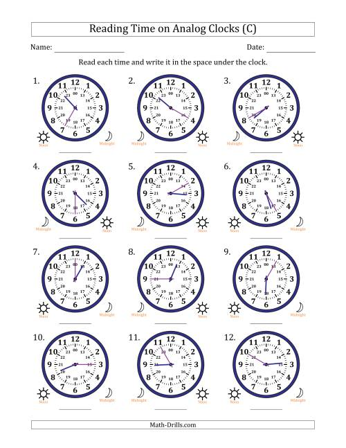 The Reading Time on 24 Hour Analog Clocks in 5 Minute Intervals (C) Math Worksheet