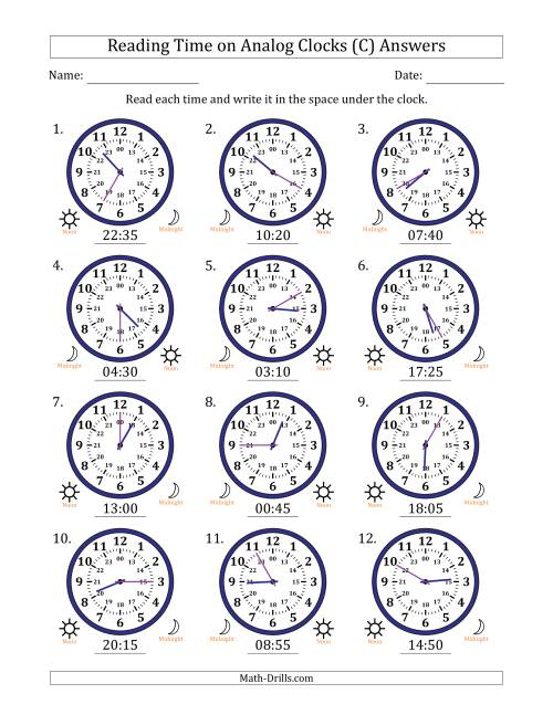 The Reading Time on 24 Hour Analog Clocks in 5 Minute Intervals (C) Math Worksheet Page 2
