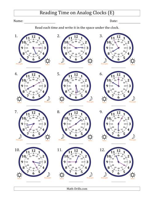The Reading Time on 24 Hour Analog Clocks in 5 Minute Intervals (E) Math Worksheet