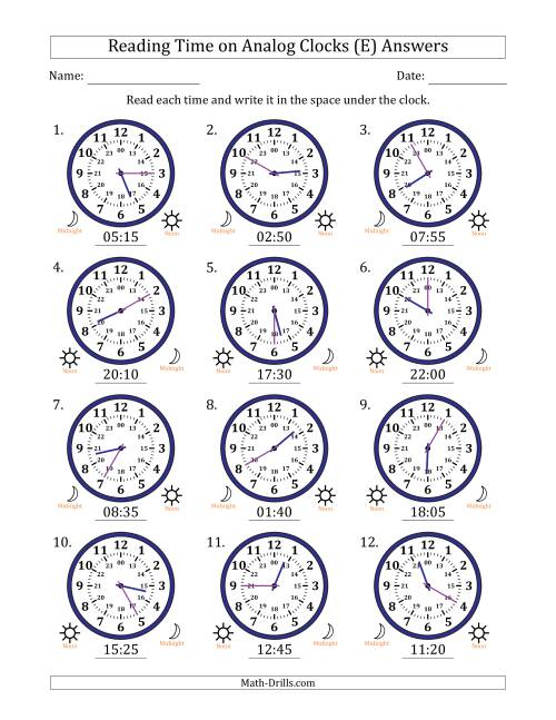 The Reading Time on 24 Hour Analog Clocks in 5 Minute Intervals (E) Math Worksheet Page 2