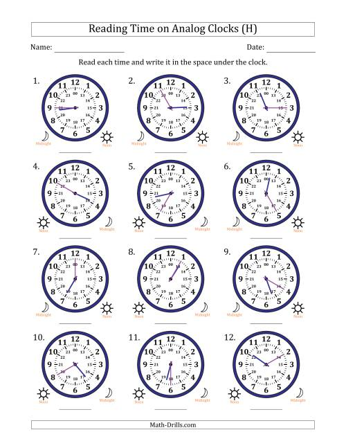 The Reading Time on 24 Hour Analog Clocks in 5 Minute Intervals (H) Math Worksheet
