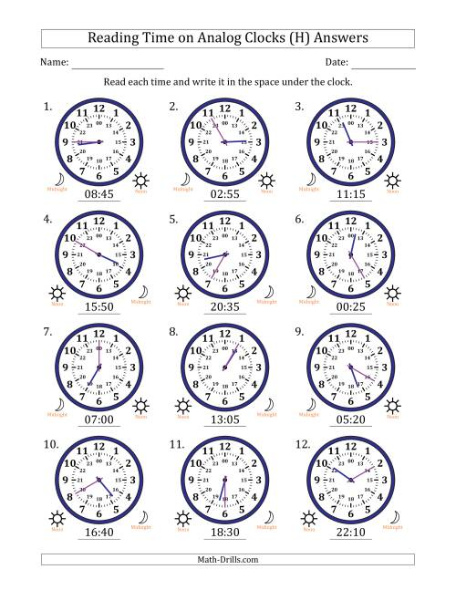 The Reading Time on 24 Hour Analog Clocks in 5 Minute Intervals (H) Math Worksheet Page 2