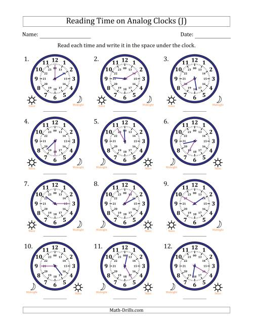 The Reading Time on 24 Hour Analog Clocks in 5 Minute Intervals (J) Math Worksheet