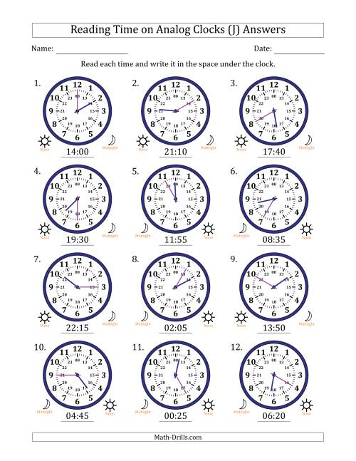 The Reading Time on 24 Hour Analog Clocks in 5 Minute Intervals (J) Math Worksheet Page 2