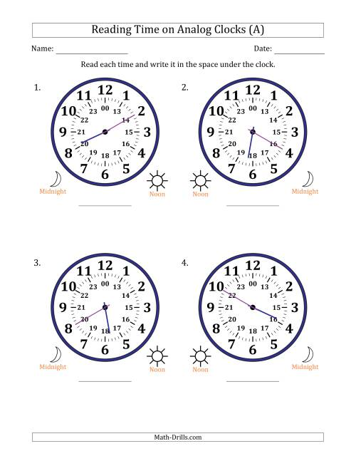 The Reading 24 Hour Time on Analog Clocks in 5 Minute Intervals (4 Large Clocks) (A) Math Worksheet