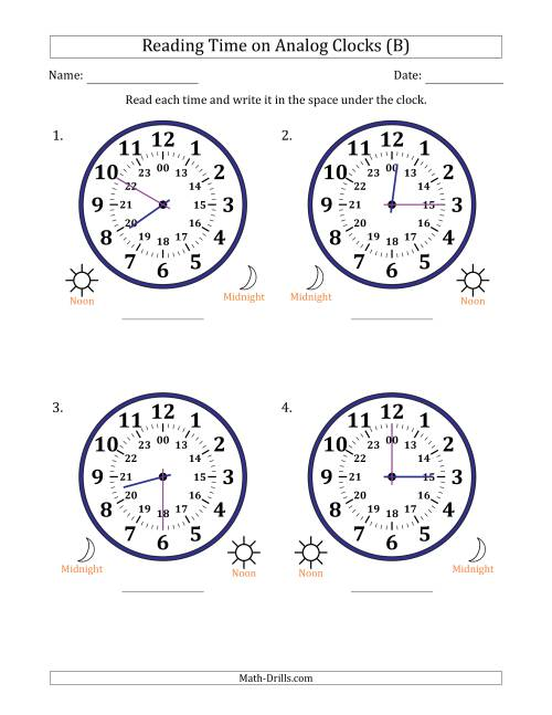 The Reading 24 Hour Time on Analog Clocks in 5 Minute Intervals (4 Large Clocks) (B) Math Worksheet