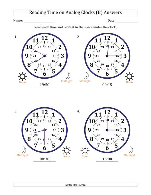 The Reading 24 Hour Time on Analog Clocks in 5 Minute Intervals (4 Large Clocks) (B) Math Worksheet Page 2