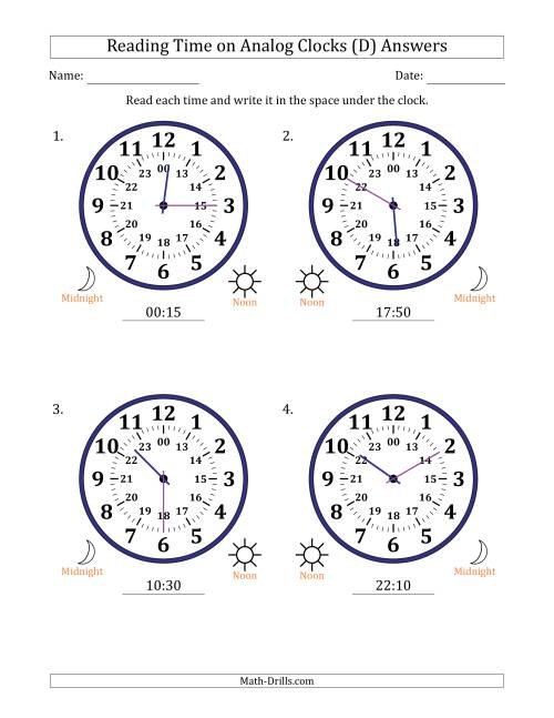 The Reading 24 Hour Time on Analog Clocks in 5 Minute Intervals (4 Large Clocks) (D) Math Worksheet Page 2