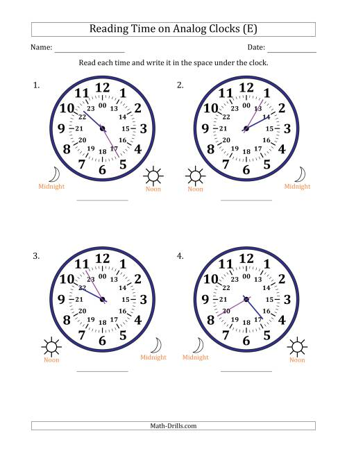 The Reading Time on 24 Hour Analog Clocks in 5 Minute Intervals (Large Clocks) (E) Math Worksheet