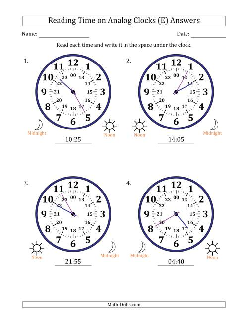 The Reading Time on 24 Hour Analog Clocks in 5 Minute Intervals (Large Clocks) (E) Math Worksheet Page 2