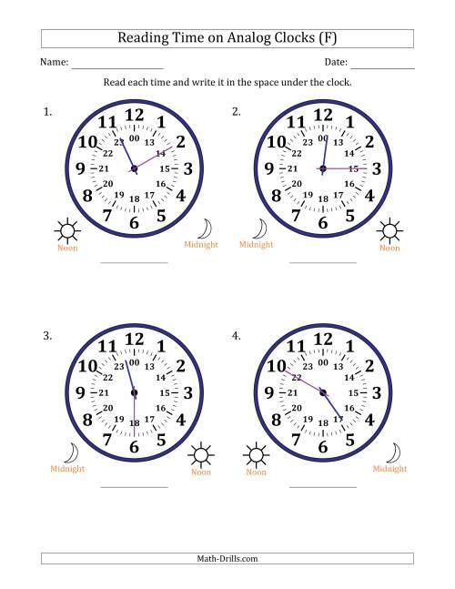 The Reading Time on 24 Hour Analog Clocks in 5 Minute Intervals (Large Clocks) (F) Math Worksheet