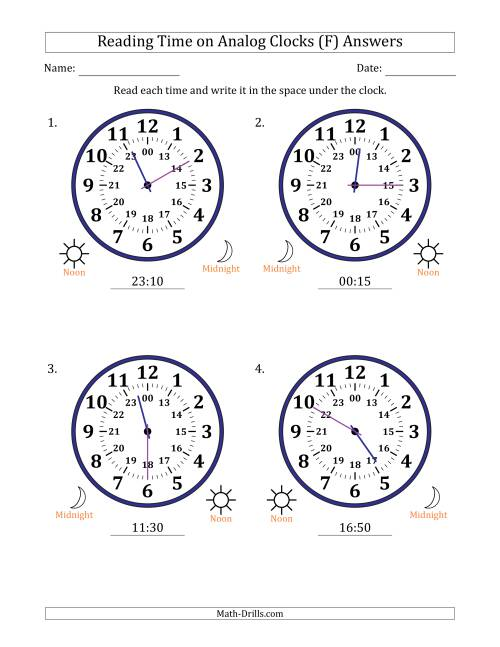 The Reading Time on 24 Hour Analog Clocks in 5 Minute Intervals (Large Clocks) (F) Math Worksheet Page 2
