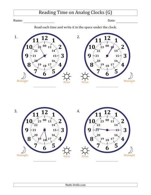 The Reading Time on 24 Hour Analog Clocks in 5 Minute Intervals (Large Clocks) (G) Math Worksheet