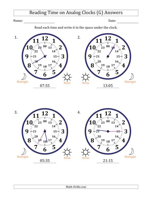 The Reading Time on 24 Hour Analog Clocks in 5 Minute Intervals (Large Clocks) (G) Math Worksheet Page 2