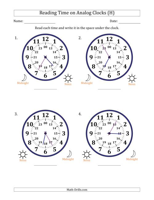 The Reading 24 Hour Time on Analog Clocks in 5 Minute Intervals (4 Large Clocks) (H) Math Worksheet