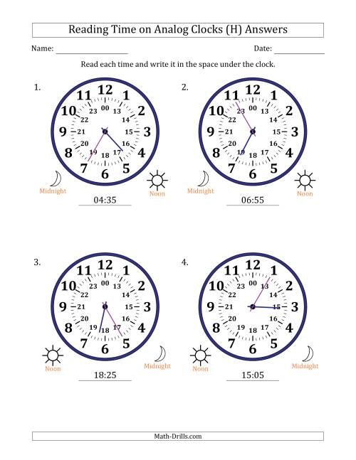 The Reading 24 Hour Time on Analog Clocks in 5 Minute Intervals (4 Large Clocks) (H) Math Worksheet Page 2