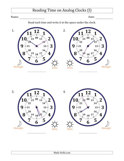 The Reading 24 Hour Time on Analog Clocks in 5 Minute Intervals (4 Large Clocks) (I) Math Worksheet