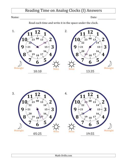The Reading 24 Hour Time on Analog Clocks in 5 Minute Intervals (4 Large Clocks) (I) Math Worksheet Page 2