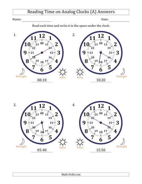 The Reading Time on 24 Hour Analog Clocks in 5 Minute Intervals (Large Clocks) (All) Math Worksheet Page 2