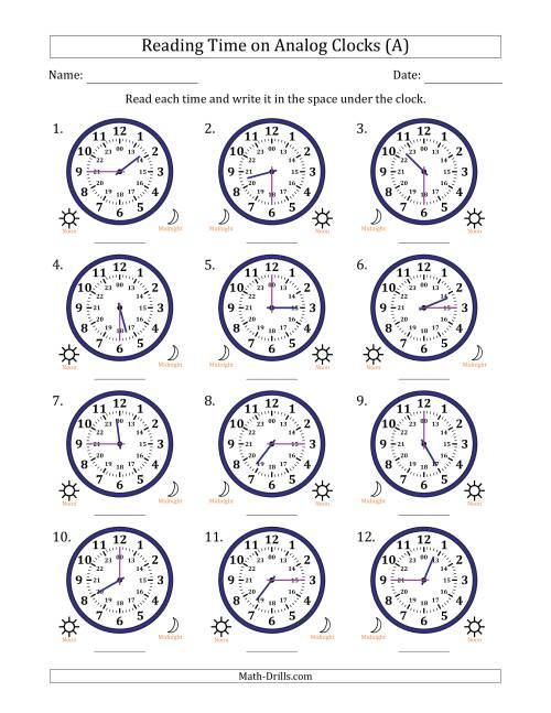 reading time on 24 hour analog clocks in quarter hour intervals a. Black Bedroom Furniture Sets. Home Design Ideas