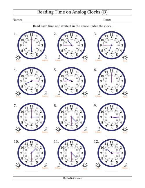 reading time on 24 hour analog clocks in quarter hour intervals b. Black Bedroom Furniture Sets. Home Design Ideas