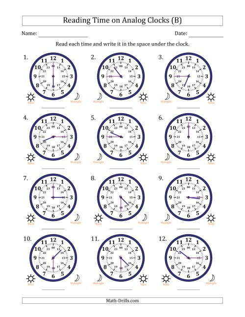 The Reading Time on 24 Hour Analog Clocks in Quarter Hour Intervals (B) Math Worksheet