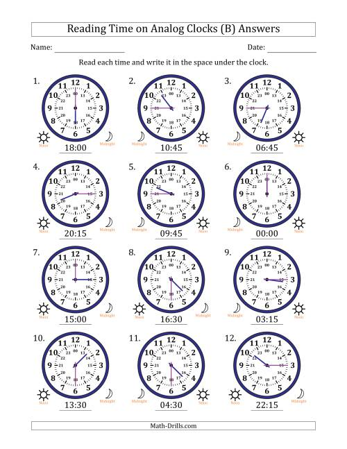 The Reading Time on 24 Hour Analog Clocks in Quarter Hour Intervals (B) Math Worksheet Page 2