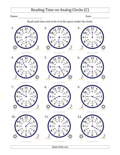 The Reading Time on 24 Hour Analog Clocks in Quarter Hour Intervals (C) Math Worksheet