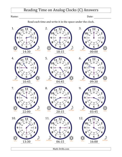 The Reading Time on 24 Hour Analog Clocks in Quarter Hour Intervals (C) Math Worksheet Page 2