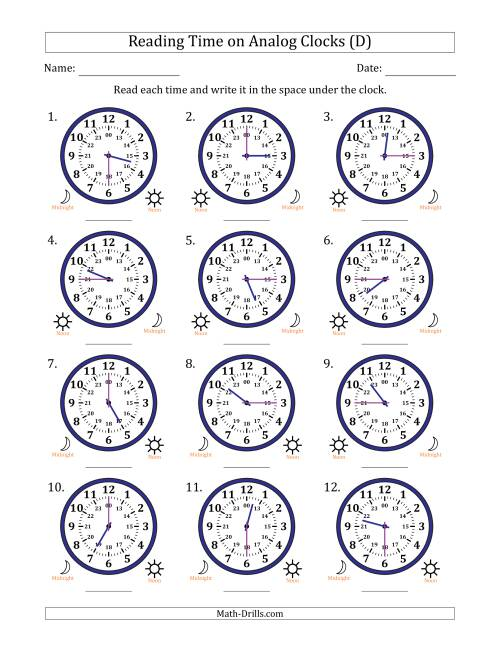 The Reading Time on 24 Hour Analog Clocks in Quarter Hour Intervals (D) Math Worksheet