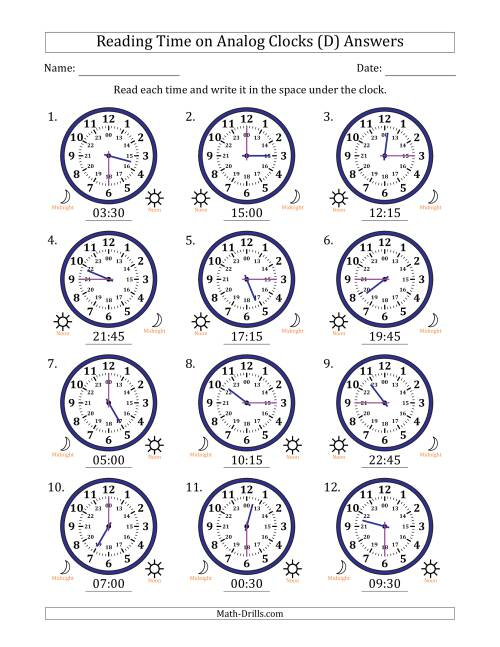 The Reading Time on 24 Hour Analog Clocks in Quarter Hour Intervals (D) Math Worksheet Page 2