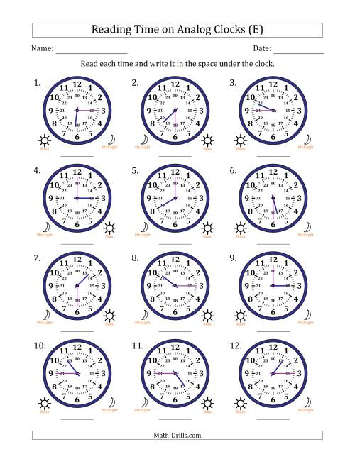The Reading 24 Hour Time on Analog Clocks in 15 Minute Intervals (12 Clocks) (E) Math Worksheet